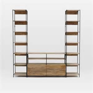 media bookshelves industrial modular media set w bookshelves west elm