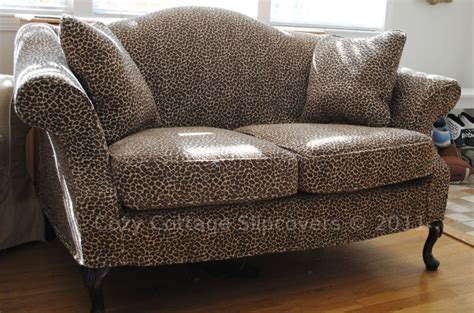 leopard print settee cozy cottage slipcovers animal print slipcover