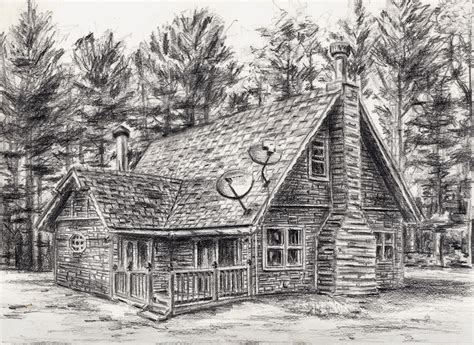 cabin sketch finished this sketch for some family friends of their