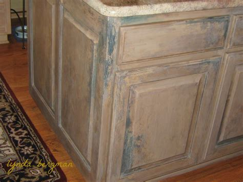 Pickled Cabinet Finish by Lynda Bergman Decorative Artisan Painting A Distressed