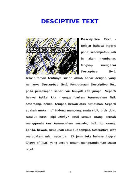 teks deskripsi bahasa inggris tentang benda berbagi teks