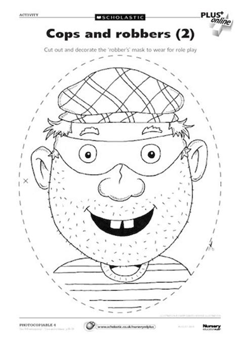 printable robber mask template cops and robbers 2 free early years teaching resource