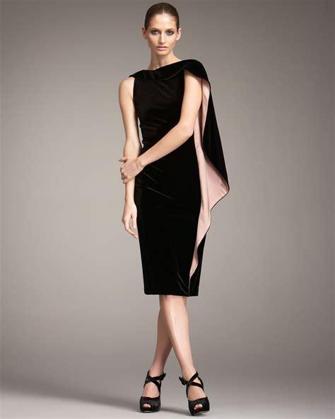 Dress Cape Sleeve 1 giorgio armani cape sleeve velvet dress in black lyst