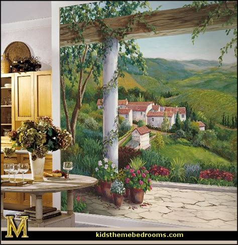 italian wall murals decorating theme bedrooms maries manor tuscany vineyard