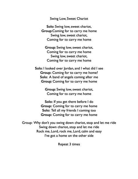lyrics to swing swing low chariot lyrics 28 images swing low sweet