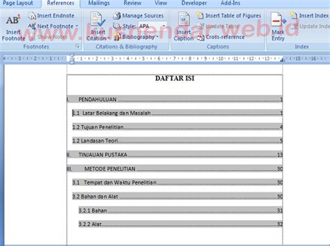 cara membuat daftar isi otomatis menggunakan tab membuat daftar gambar otomatis word 2013 tutorial membuat