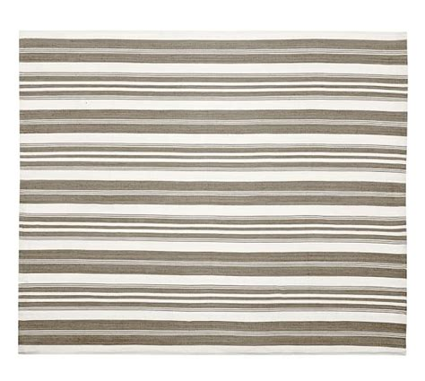 Oxford Stripe Recycled Yarn Indoor Outdoor Rug Gray Pottery Barn Striped Rug