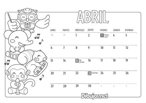 Calendario 9 De Abril Im 225 Genes De Calendarios Infantiles De Abril 2016 Para