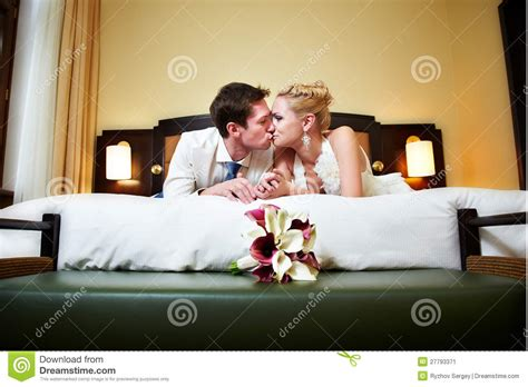 Most Bedroom Kisses Happy And Groom In Bedroom Stock Image