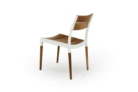 Aluminium And Teak Garden Furniture Powder Coated Aluminum And Teak Stacking Sidechair
