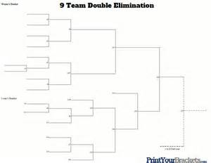9 team double elimination printable tournament bracket