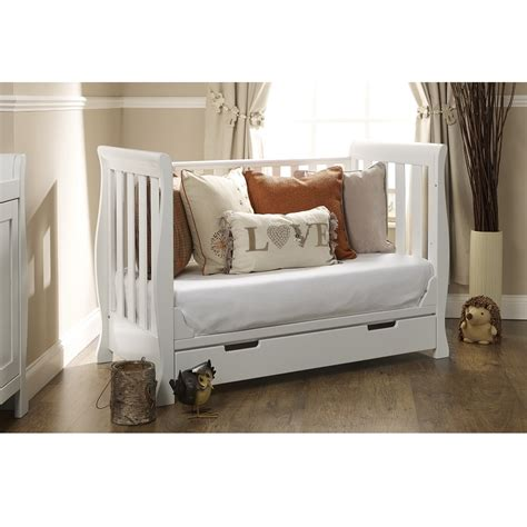 obaby lincoln sleigh mini cot bed with drawer white ebay