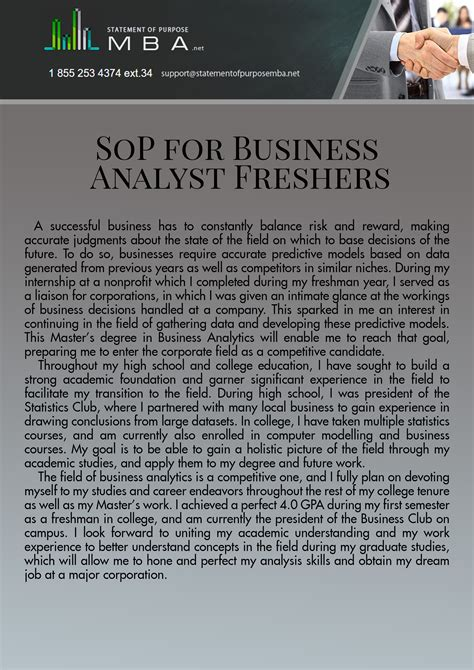 Mba In Analytics Usa by Sop For Ms In Business Analytics For Freshers