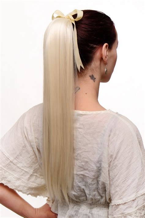 Hair Cliphairclipextention Smoothing 60 65cm hair ponytail platinum smooth bow cl