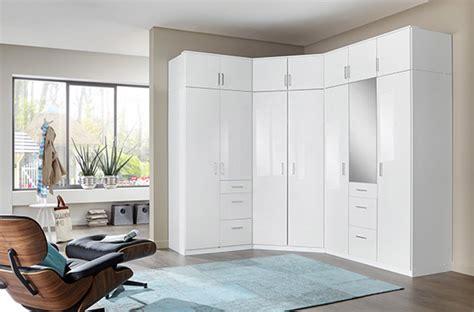 Armoire d'angle Clack blanc portes miroirs