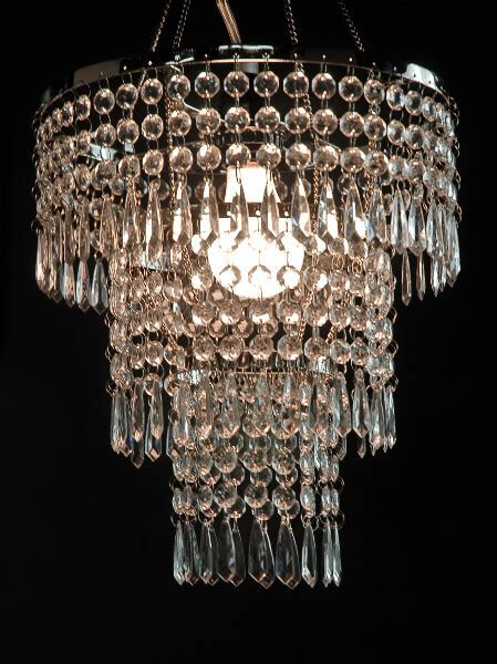 Crystal Pendant Chandelier 3 Tier, 12in w/ Lighting Kit