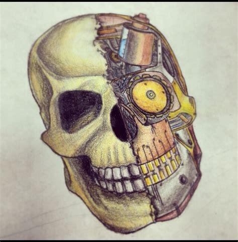biomech steampunk tattoo design skull design by