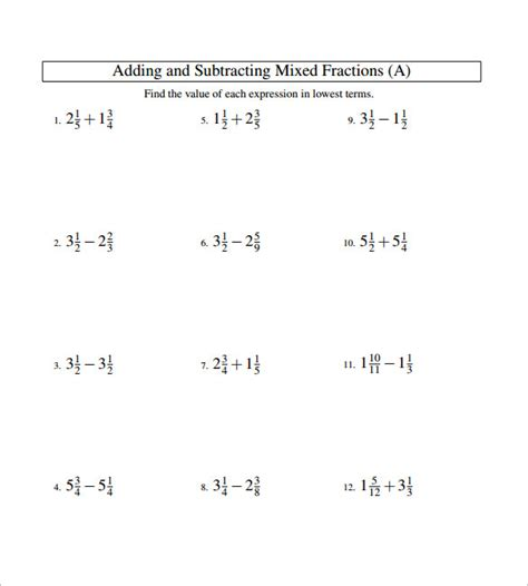 Subtracting Fractions Worksheets by 15 Adding And Subtracting Fractions Worksheets Free Pdf
