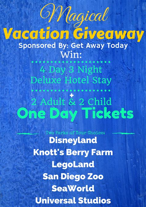 Vacation Giveaways - magical vacation giveaway liz on call