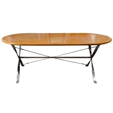 Dining Table Maple Oval Maple Burl Dining Table With Polished Steel Base At