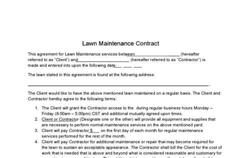 lawn service contract templates download free premium