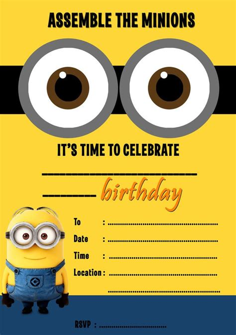 minion invitation card template birthday invitation templates minion birthday