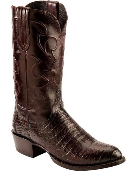 Handcrafted Cowboy Boots - lucchese handcrafted 1883 black cherry crocodile belly