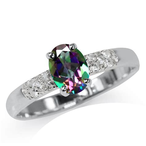 mystic white topaz 925 sterling silver engagement ring