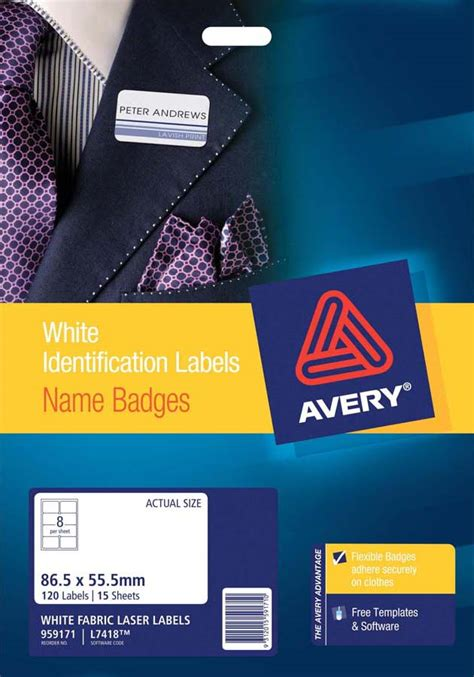 avery 174 silver fabric name badge labels l7418 15 avery