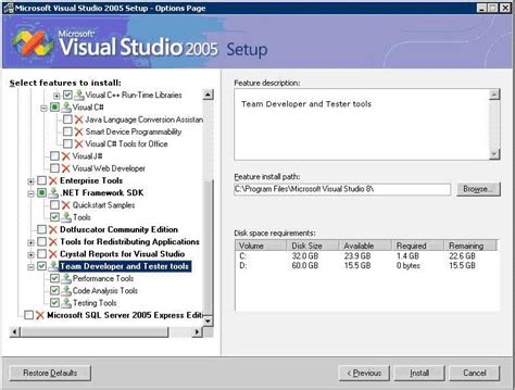 reset visual studio 2005 settings using visual studio 2005 to perform load testing on a sql