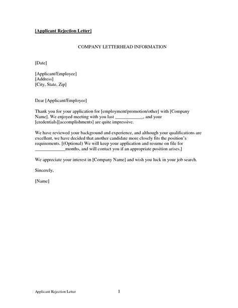 Rejection Letter Of Employment how to write rejection letter to applicant
