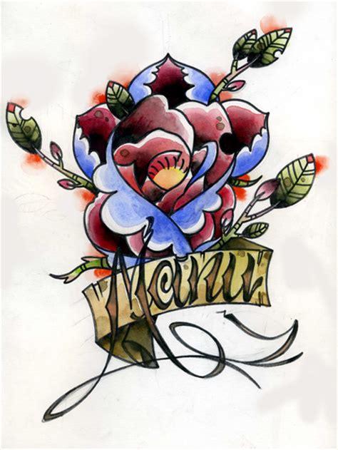 manu rose and name tattoo by onibaka on deviantart