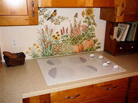 kitchen tile backsplash murals quot espinosa s flower garden quot diagonal kitchen backsplash tile mural installed traditional