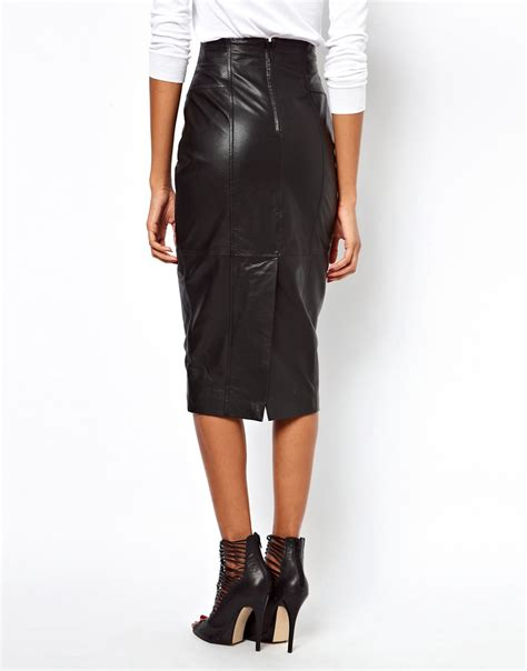 asos asos wasp pencil skirt in leather at asos