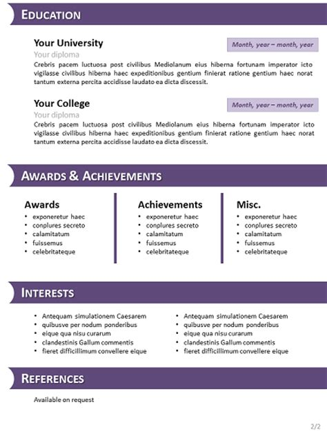 Powerpoint Resume Templates by Purple Curriculum Vitae Template For Powerpoint