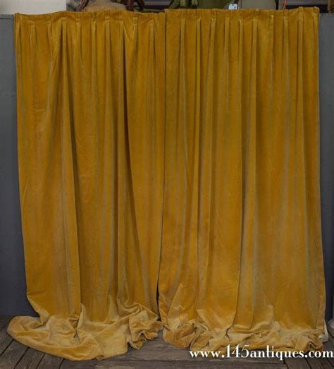 Gold Velvet Curtains Pair Of Gold Velvet Drapes For Sale At 1stdibs