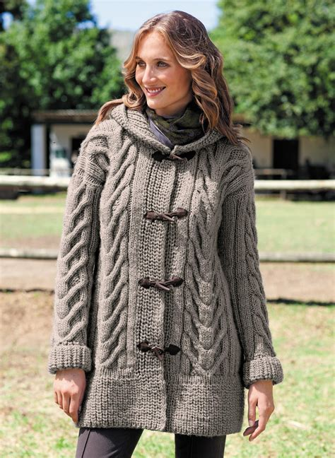 Hooded Knitted Coat cabled hooded coat free knitting pattern knitting bee