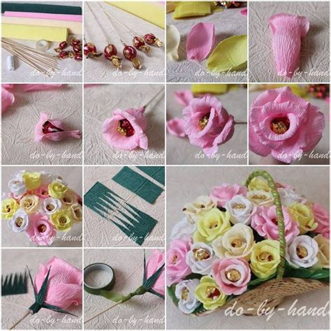 Paper Crafts Tutorial - how to make paper roses with chocolate candies step by