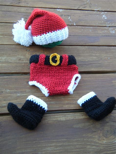 christmas pattern diapers santa hat boots and diaper cover set made to order any