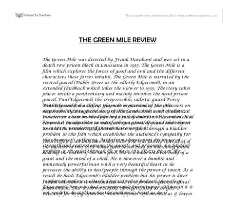 Green Mile Essay by The Green Mile Essay Address Cover Letter To Two