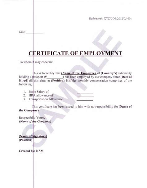 employment certification letter for visa application employment verification letter for visa template business