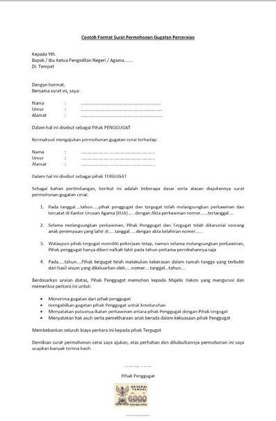 Surat Lamaran Cpns Kemendikbud Pakai Materai 6000 by 8 Contoh Surat Pernyataan Cerai Terlengkap Contohsuratmu