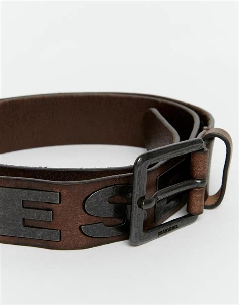 Diesel Leather Set Rubber 3 diesel b bold leather belt in brown for lyst