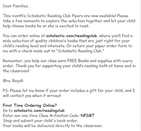 Parent Letter Scholastic Book Club Royall Josie Scholastic Book Club