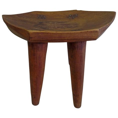 Craftsman Stools by 1930s Carved Modern Craftsman Stool For Sale
