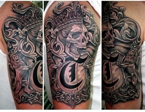 family sleeve tattoo grey ink german family crest on half sleeve