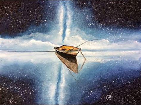 sky boat watercolor night sky boat full video demonstration with