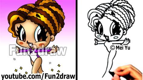 fun2draw how to draw cartoon people how to draw cartoon people gymnast girl drawing