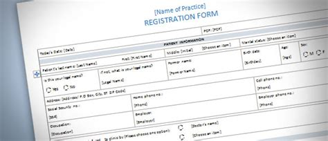 Patient Registration Form Template For Word 2013 Microsoft Word Forms Templates