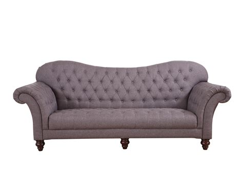 Classic Tufted Linen Victorian Sofa Dark Grey Ebay Tufted Gray Sofa